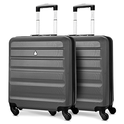 Aerolite 56x45x25cm easyJet British Airways Jet2 Maximum Allowance 46L Lightweight Hard Shell Carry On Hand Cabin Luggage Travel Spinner Suitcase with 4 Wheels (Charcoal x 2)