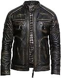 BRANDSLOCK Mens Leather Biker Jacket Distressed Vintage Retro Warm (5XL, Black) from