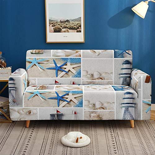 Protector de sofá con Estampado Fundas de Sofá Elasticas de 4 Plazas Poliéster Suave con Funda elástica Antideslizante Protector Cubierta de Muebles,Criatura Estrella de mar