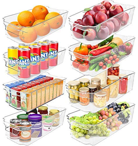 Greenco Clear Bins Stackable Storage Organizer Containers with Handles for Refrigerator Freezer Pantry and Kitchen Cabinets Set of 8, Medium, large