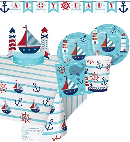 Ahoy It's A Boy Baby Shower Party Supplies - Nautical Baby Shower Plates and Napkins Cups for 16 People - Includes Ahoy It's A Boy Banner, Tablecloth & Centerpiece - Perfect Ahoy Its A Boy Baby Shower Decorations!