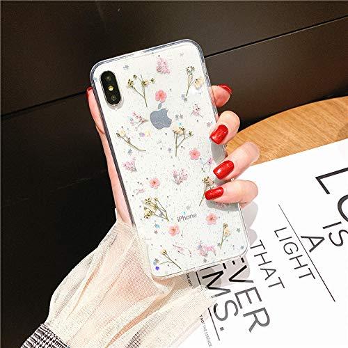 lingtai Real Dired Flowers Funda de TPU Suave para iPhone XS MAX XR 11 Pro MAX X 10 6 8 7 Plus SE 2020 Funda de teléfono con Estampado Floral Bling Fundas-para iPhone SE 2020_Rosado