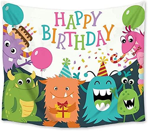 votgl Monstruo de Dibujos Animados Feliz cumpleaños Mandala Tapiz de poliéster Tapiz Colgante de Pared Alfombra de Yoga para la decoración del Dormitorio del hogar-150x230cm oein