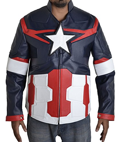 BURNING SKULL BSKULL Men's Captain America Ultron Faux Leather Jacket (2XL) Multi Color