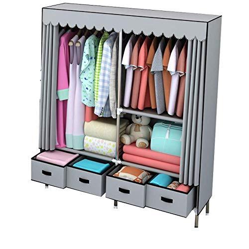 Armario Closet Organizador Estanterías de armario portátiles Almacenamiento impermeable, Armario de tela extra fuerte y duradero, Muebles de dormitorio for el hogar, 162x45x168CM / 64x18x66in para Rop