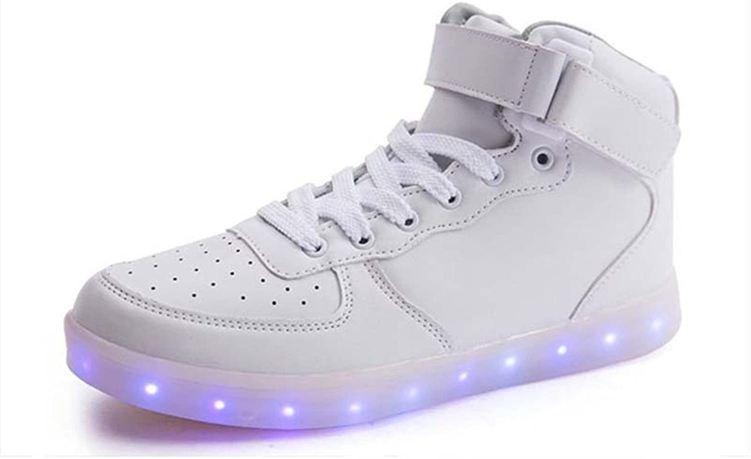 PLAN B High Top LED shoes Light up USB Charging Flashing Sneakers for Women Men-(White-11 B(M) US Women 8.5 D(M) USmen)