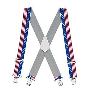 SuspenderStore Men's Stars and Stripes Suspenders, 2-Inches Wide Clip
