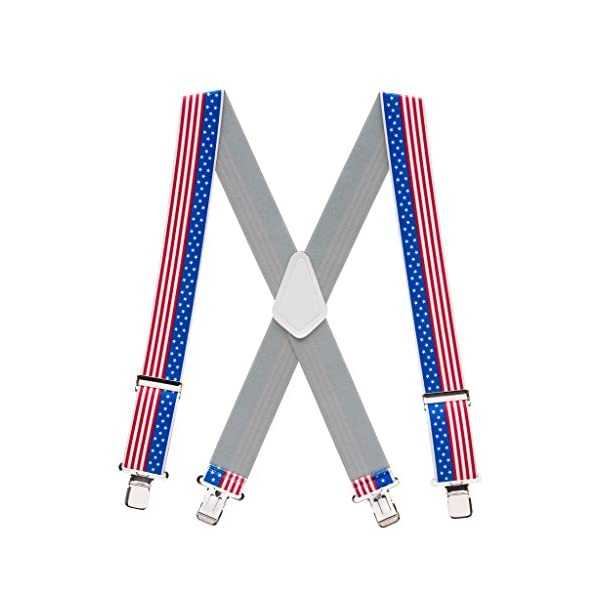 SuspenderStore Men's Stars and Stripes Suspenders, 2-Inches Wide Clip