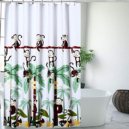 LGANY douchegordijn - waterdicht en schimmelbestendig badkuip-scheidingsgordijn met cartoon-apenpatroon, milieuvriendelijk PEVA-materiaal met haken