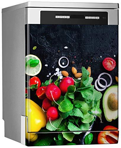 Megadecor decoratief vinyl voor vaatwasser, afmetingen standaard 67 cm x 76 cm, verse groente op zwart bord