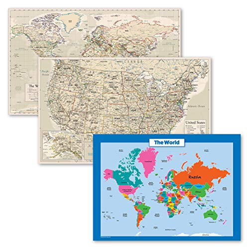 3 Pack - Antique Style World & USA Map Poster Set + World Map Chart for Kids (Laminated, 18' x 29')