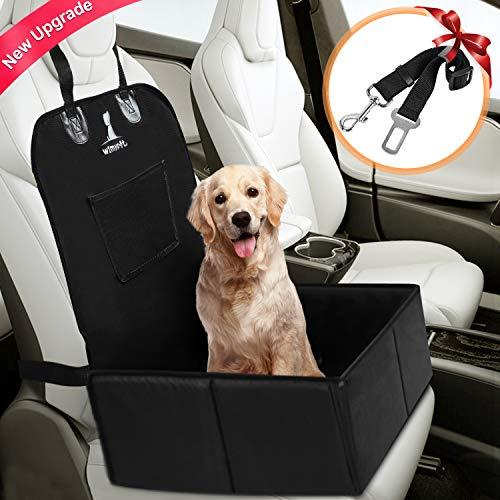 Wimypet Hunde Autositz für Kleine Mittlere Hunde, Stabiler Rückbank & Vordersitz Hundesitz, Hochwertiger Wasserdicht Faltbar Autositzbezug mit Sicherheitsgurt