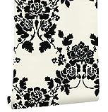 HaokHome 630562 Papel Tapiz Floral Damasco con Cubierta de PVC, Lavable, Papel Pintado con Textura Floral Negro Beige Para Decoración de Sala/Cocina/Comedor 0.45m x 6m
