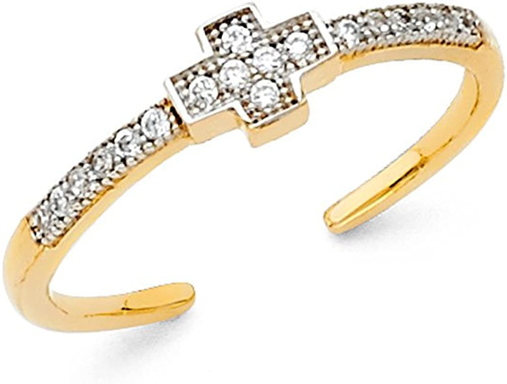 FB Jewels 14K Gold Cross Cubic Zirconia CZ Toe Ring One Size Fits All Adjustable