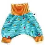 Baby Kind Mitwachshose Pumphose Sweat Blätter und Punkte türkis Größe 44 bis 80 mitwachsende Babyhose kuschelige Sweathose
