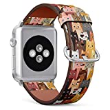 (Adorable Cats Wallpaper Pattern) Patterned Leather Wristband Strap for Apple Watch Series 4/3/2/1 gen,Replacement for iWatch 42mm / 44mm Bands