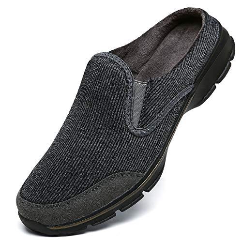 INMINPIN Unisex Hausschuhe Leichte Atmungsaktive Pantoffeln Slip On Walking Freizeit Schuhe für Damen Herren, Grau Plüsch, 43 EU