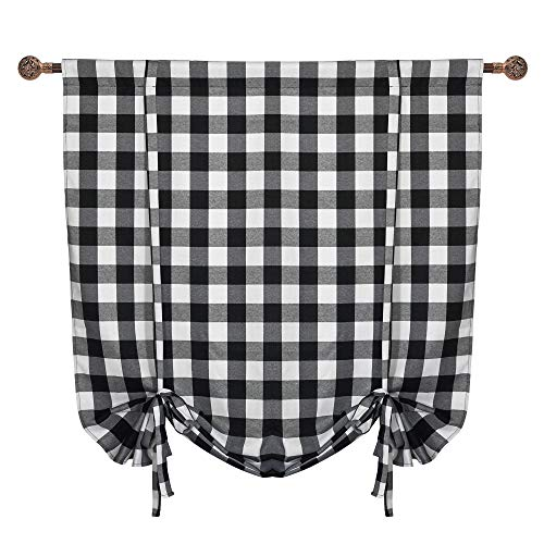 "Buffalo Check Tie-Up Shade Window Curtain, Rod Pocket, 42"" x 63"" for Small Window in Kitchen, Black & White"