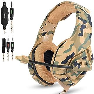 Audífonos Gamer Auriculares para juegos compatibles con PS4 Nueva Xbox one PC Mac, Auriculares para colocar sobre las orejas de 3,5 mm con micrófono y aislamiento de ruido envolvente de graves profundos para juegos -K1B Camuflaje amarillo