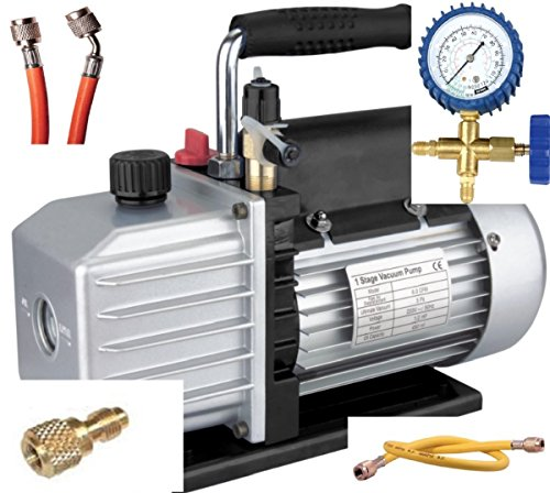Klima-Set, Vakuumpumpe mit TÜV-Zulassung + Analysator + Schläuche, 50 l, R410a R407c R134a R22