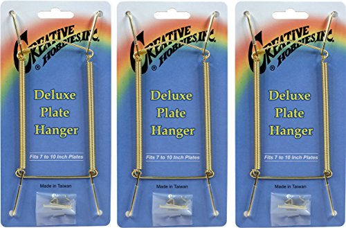 Creative Hobbies Deluxe Plate Display Hangers, Spring Style - Assembled & Ready to Use - Hold 7 to 10 Inch Plates- Gold Wire Spring Type, Hanger Hooks & Nails Included, Pack of 3 Hangers