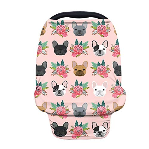 AFPANQZ Floral French Bulldog Baby Car Seat Canopy Nursing Cover Breastfeeding Scarf Shopping Cart Covers Stroller Sunshade High Chair Cover Car Seat Covers Girls Breathable Pink