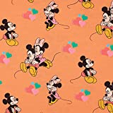 Jersey Stoff Disney Micky, Minnie Maus Herzen, apricot