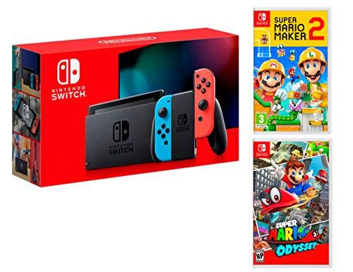 Nintendo Switch Rouge/Bleu Néon 32Go + Super Mario Maker 2 + Super Mario Odyssey