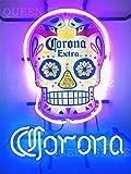 Queen Sense 20'x16' Coronas Haunted Skull Skeleton Neon Sign Light Lamp (VariousSizes) HD Vivid Printing Tech Beer Pub Bar Handmade Artwork HV56