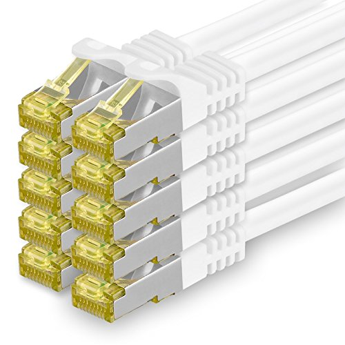 Cat.7 Netzwerkkabel 0,5m Weiß 10 Stück Cat7 Ethernetkabel Netzwerk LAN Kabel Rohkabel 10 Gb s SFTP PIMF LSZH Set Patchkabel mit Rj 45 Stecker Cat.6a