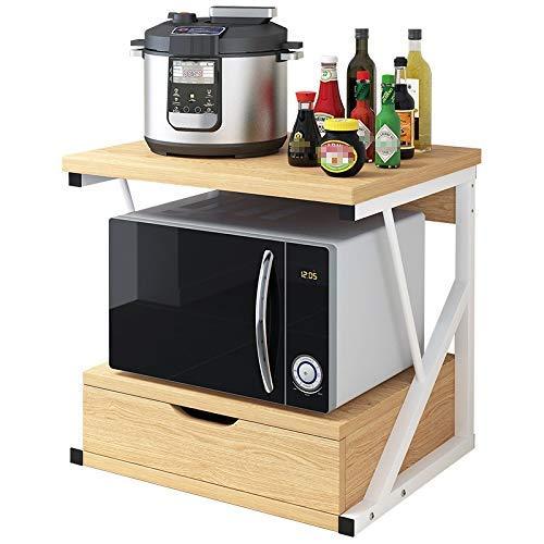 L-WSWS Estante de la cocina del panadero del horno microondas soporte Utilidad plataforma de almacenamiento de especias estación de trabajo Organizador con 2-Tier estante y gabinete de cocina o comedo