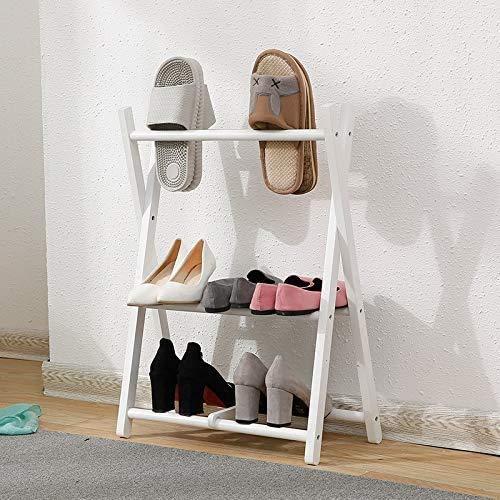 Zapatero Zapatero de madera maciza Simple Home Living Space 2-capa de almacenamiento creativo simple de pared de estilo japonés zapatero Ahorro de espacio de diseño Fácil de montar ( Color : White )