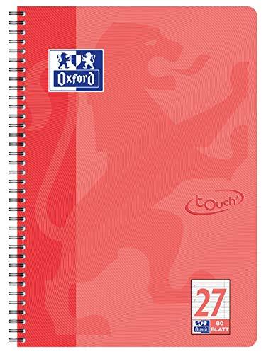 OXFORD 400086493 Collegeblock Touch im Format A4 80 Blatt liniert mit Doppelrand koralle Schreibblock Notizblock Briefblock Schulblock