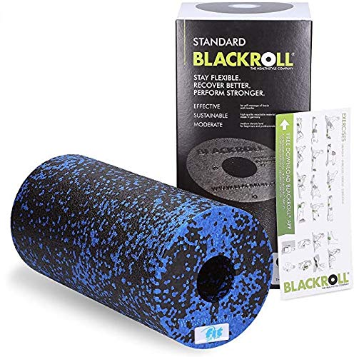 Fit for Fun Blackroll, professionelle Massagerolle, lockert Muskeln & Bindegewebe, Faszienrolle zur Selbstmassage, mittlere Härte, inkl. Trainingsanleitung, schwarz-blau, 30 x 15 cm