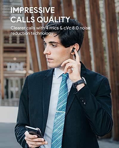 AUKEY Auriculares Inalámbricos Bluetooth 5 aptX Graves Mejorados, 4-Micrófonos Auriculares Bluetooth con CVC 8.0 Cancelación de Ruido, IPX7 Impermeable, Carga Rápida USB-C para Android y iPhone miniatura