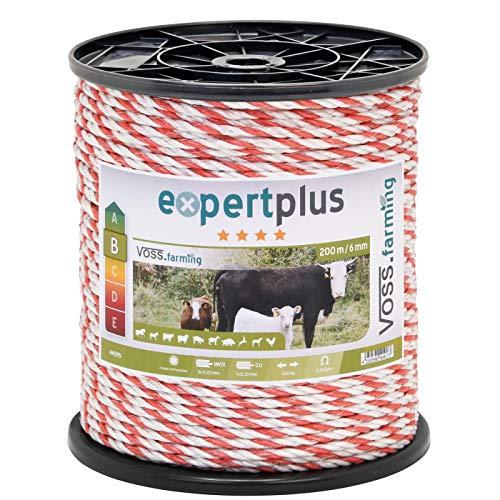VOSS.farming Weidezaun Seil 200 m 6 mm, 1 x 0,3 Kupfer + 5 x 0,2 NIRO, weiß-rot Elektroseil Pferd Pony Rind