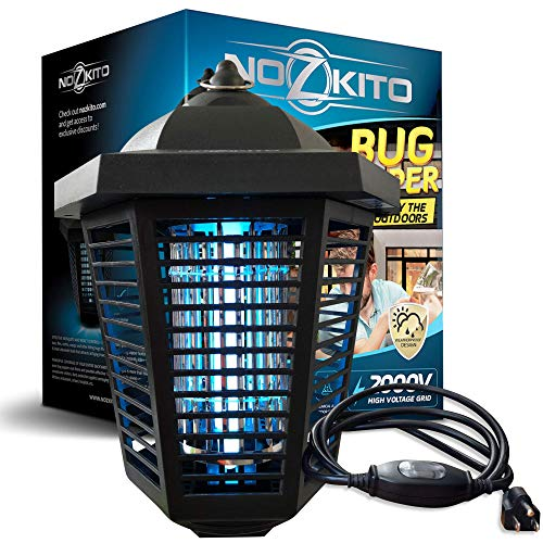 Nozkito Bug Zapper Mosquito Killer - Powerful 2000V Grid for Outdoor Use. 6 Foot Power Cord with Rainproof On/Off Switch. Insect Trap UV Lamp. Great Lantern for Backyard, Patio, Porch and Garden