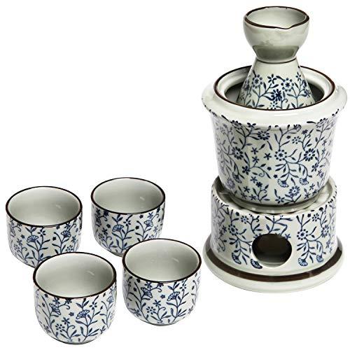Exquisite Ceramic Blue Flowers Japanese Sake Set w/ 4 Shot Glass/Cups, Serving Carafe & Warmer Bowl
