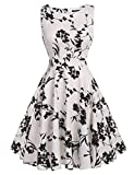 ARANEE Vintage Classy Floral Sleeveless Party Picnic Party Cocktail Dress (M, White+Black)