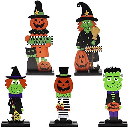 xiaowang 5 adornos de madera de Halloween, adornos de hombre de bruja de calabaza, manualidades de madera, decoración de escritorio, para todos los patios, bares, accesorios y fiestas temáticas