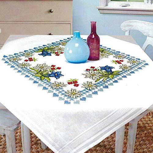 Kamaca - Kit de punto de cruz para mantel, juego de punto de algodón, juego de bordado con plantilla, en diseño de flores de los alpes (mantel de 80 x 80 cm)