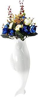Nbrand - Conjunto de 1 conjunto de flores de cerámica con forma de pez para pared, decoración de pared, decoración floral ...