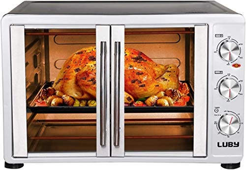 Luby Large Toaster Oven Countertop French Door Designed, 18 Slices, 14'' pizza, 20lb Turkey, Silver