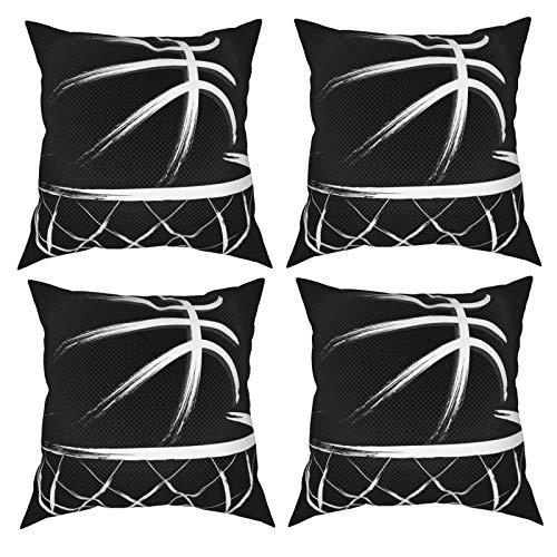Sunzhenyu Juego de 4 fundas de almohada decorativas de baloncesto, 20 x 20, fundas de cojín cuadradas, fundas de cojín para sofá, sala de estar