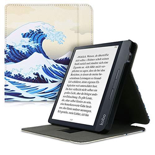 kwmobile Funda Compatible con Kobo Libra H2O - Carcasa para e-Book de Cuero sintético - Ola Japonesa Azul/Blanco/Beige