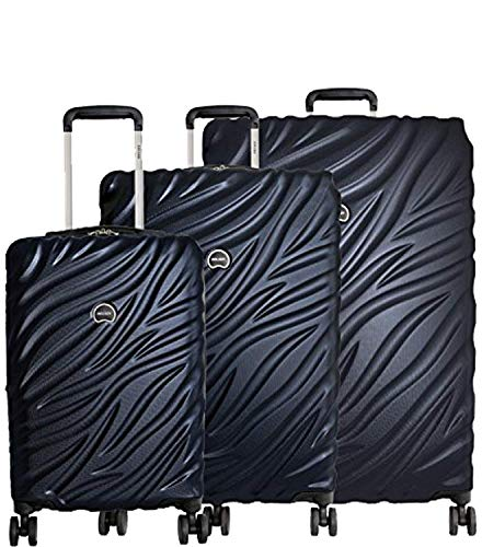Delsey Alexis Lightweight Luggage Set 3 Piece, Double Wheel Hardshell Suitcases, Expandable Spinner Suitcase with TSA Lock and Carry On (Navy, 3-piece Set (21'/25'/29'))