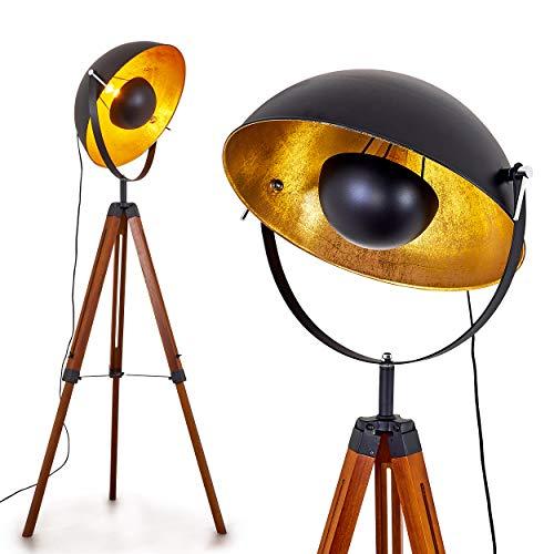 Stehlampe Jupiter, Vintage Stehleuchte in Schwarz/Gold aus Metall m. Gestell aus Holz, Ø 55cm, E27-Fassung, max. 60 Watt, verstellbare Bodenleuchte im Retro-Design, geeignet für LED Leuchtmittel