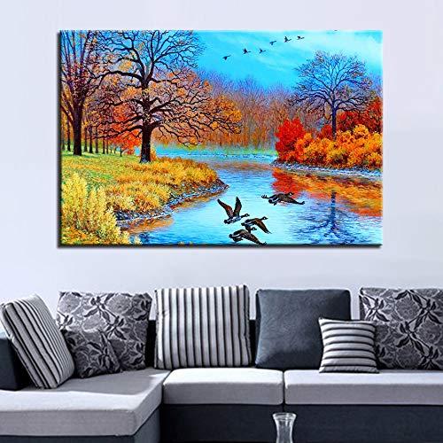 GJQFJBS Leinwand Malerei Wandkunst Hd Print Wald Baum Landschaft Kreative Bild Poster Kunstwerk A2 30x40 cm