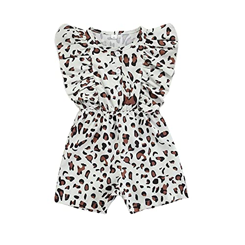Glosun Mono de verano para niñas pequeñas con estampado de leopardo y cuello Henley con volantes sin mangas