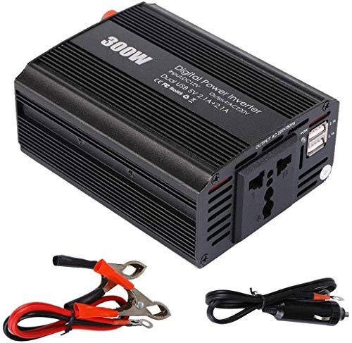 Inversor Corriente 300W DC 12V a 110V / 220V AC Convertidor automóvil con tomacorrientes de CA y Puertos Carga USB 2.1A duales para tabletas, computadoras portátiles y teléfonos Inteligentes,12V-220V
